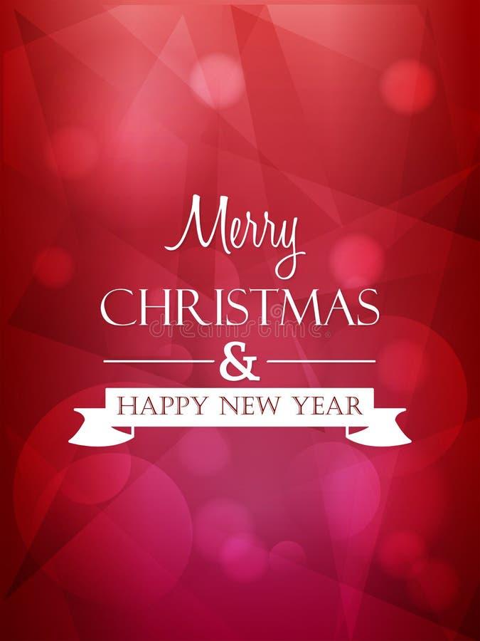 Wesoło boże narodzenia i szczęśliwy nowy rok, czerwony kartka z pozdrowieniami royalty ilustracja