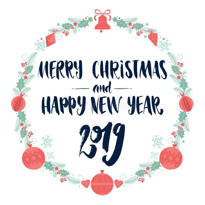 Wesoło boże narodzenia 2019 I Szczęśliwy nowy rok Dekoracyjnego koloru wianku Bożenarodzeniowa rama z kaligrafii literowaniem royalty ilustracja