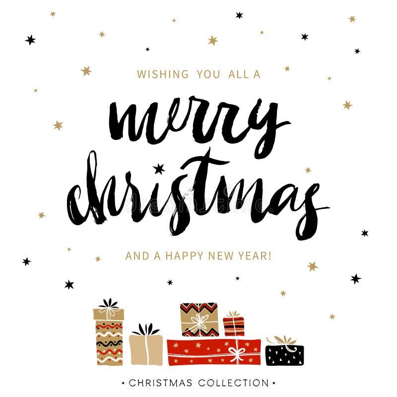 Wesoło boże narodzenia i Szczęśliwy nowy rok karciany bożego narodzenia powitanie