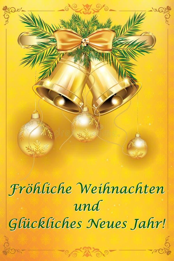 Wesoło boże narodzenia i Szczęśliwy nowy rok - klasyczna kartka z pozdrowieniami z Niemieckim tekstem ilustracji