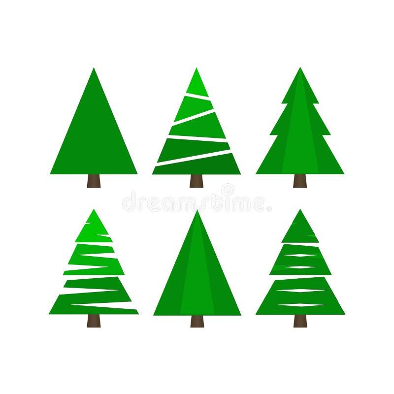 Wesoło boże narodzenia i Szczęśliwy nowy rok 2019 Kolekcja jedlinowi drzewa również zwrócić corel ilustracji wektora ilustracja wektor