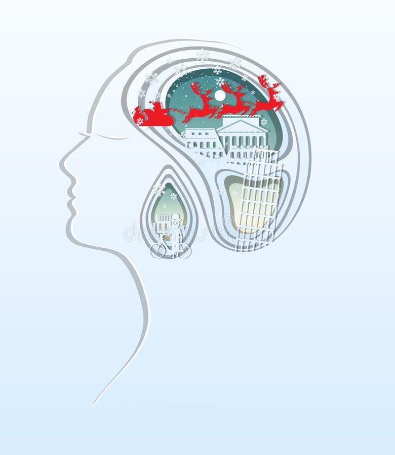 Wesoło boże narodzenia i Szczęśliwy nowy rok Papierowa sztuka rzeźbi kobiety głowa ilustracji