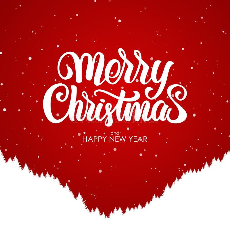 Wesoło boże narodzenia i Szczęśliwy nowy rok Ręcznie pisany literowanie z sylwetką lasowy zbocze na czerwonym tle ilustracja wektor