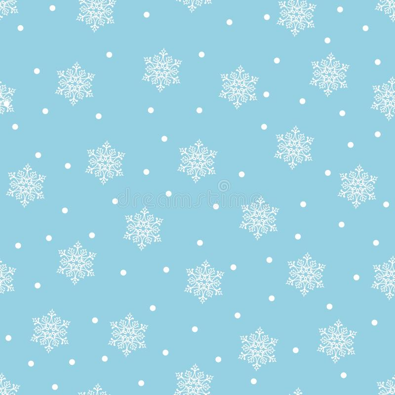 Wesoło boże narodzenia i Szczęśliwy nowy rok! Set bezszwowi tła z tradycyjnymi symbolami: płatki śniegu na błękitnym tle Vec royalty ilustracja