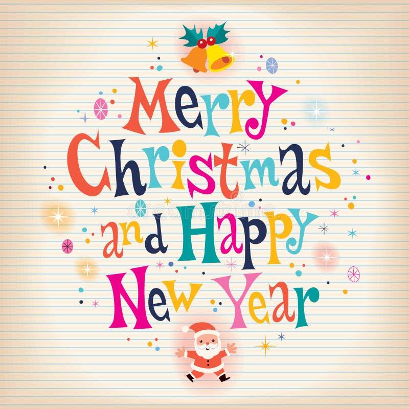 Wesoło boże narodzenia i Szczęśliwy nowy rok starzeli się papierowego retro kartka z pozdrowieniami ilustracja wektor