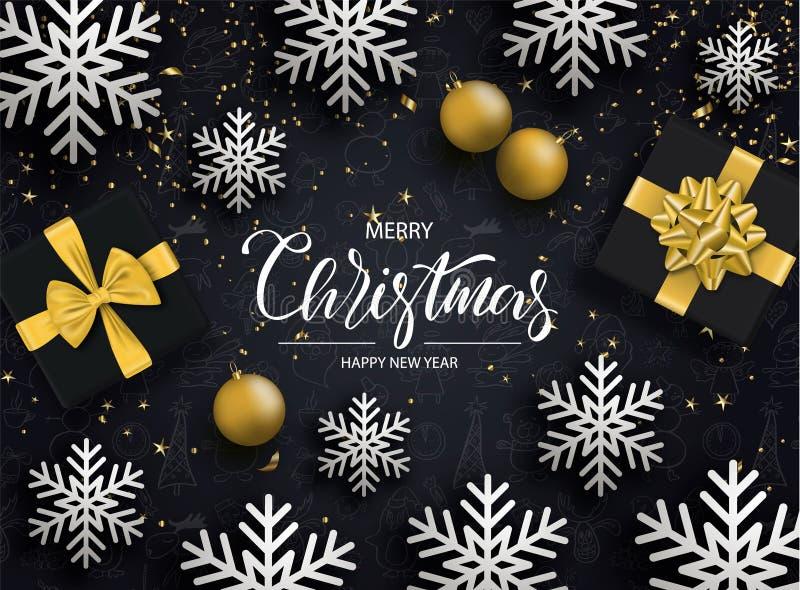 Wesoło boże narodzenia i Szczęśliwy nowy rok Tło z płatkami śniegu, prezentów pudełkami, serpentyną i piłkami, również zwrócić co royalty ilustracja