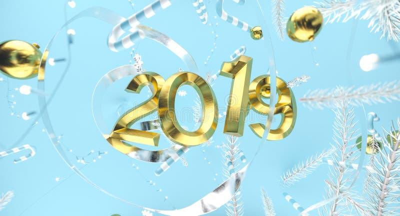 Wesoło boże narodzenia i Szczęśliwy nowy rok Tło z prezenta pudełkiem ilustracja 3 d Xmas dekoraci elementy obraz stock
