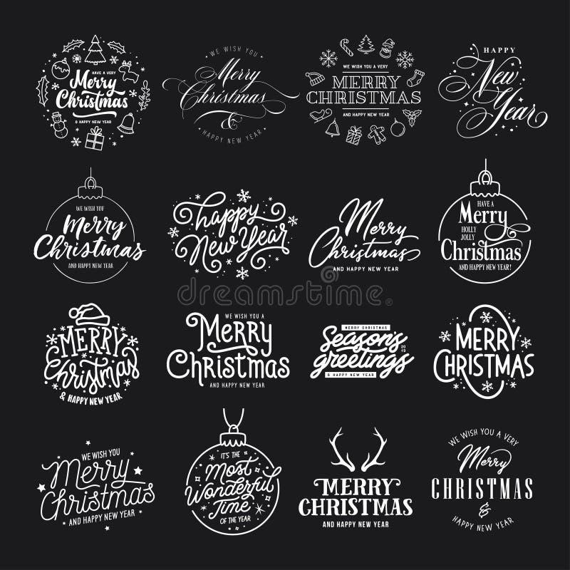 Wesoło boże narodzenia i Szczęśliwy nowy rok typografii set Wektorowa rocznik ilustracja ilustracji