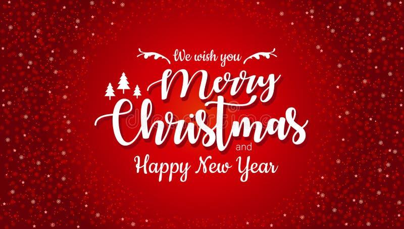 Wesoło boże narodzenia i Szczęśliwy nowy rok typographical na czerwonym tle z błyskotliwości teksturą Świętowania Xmas karta, szt ilustracji