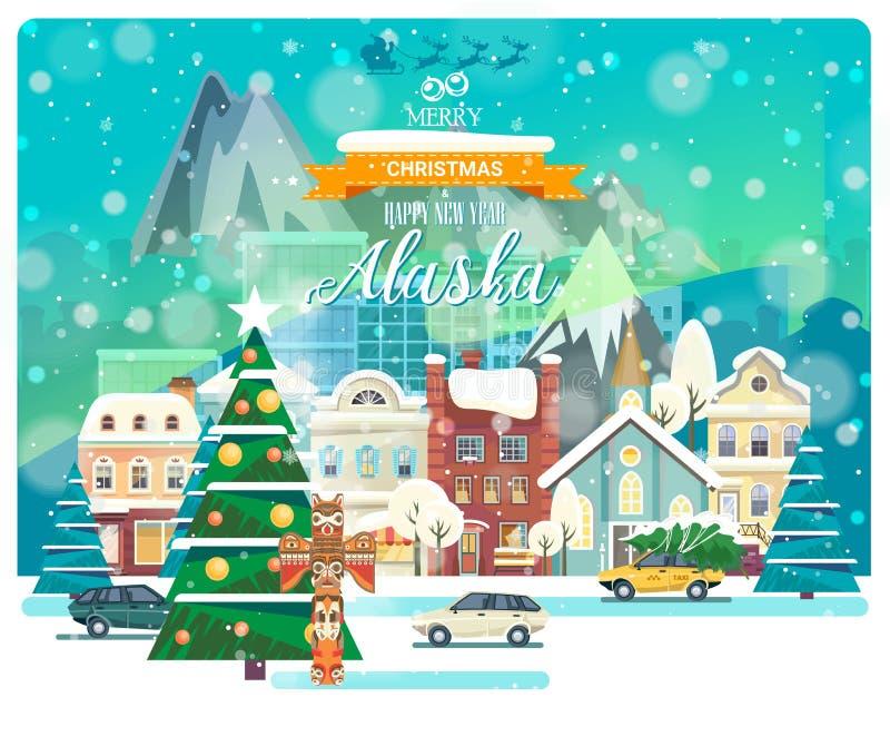 Wesoło boże narodzenia i Szczęśliwy nowy rok w Alaska Powitanie świąteczna karta od usa Zimy snowing miasto z ślicznymi wygodnymi royalty ilustracja