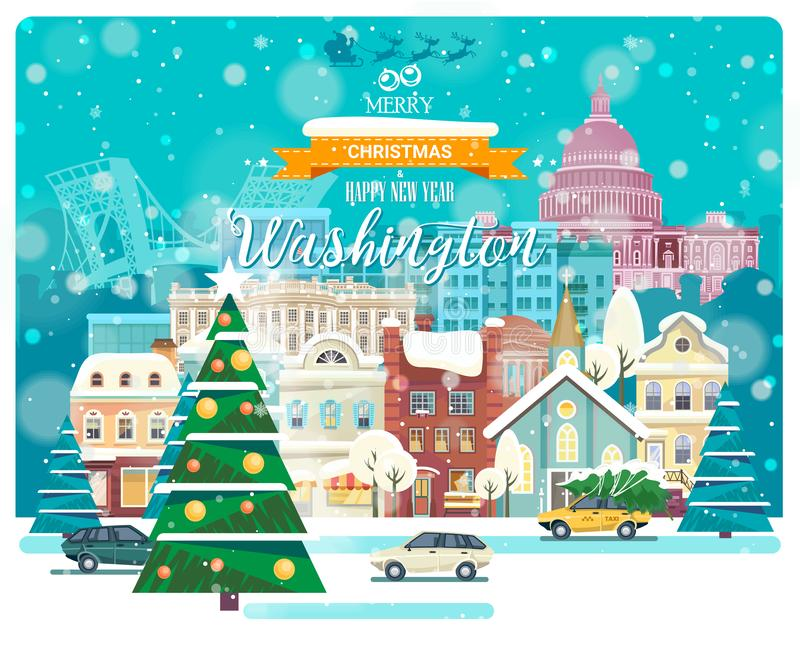 Wesoło boże narodzenia i Szczęśliwy nowy rok w Waszyngton Powitanie świąteczna karta od usa Zimy snowing miasto z ślicznymi wygod ilustracja wektor