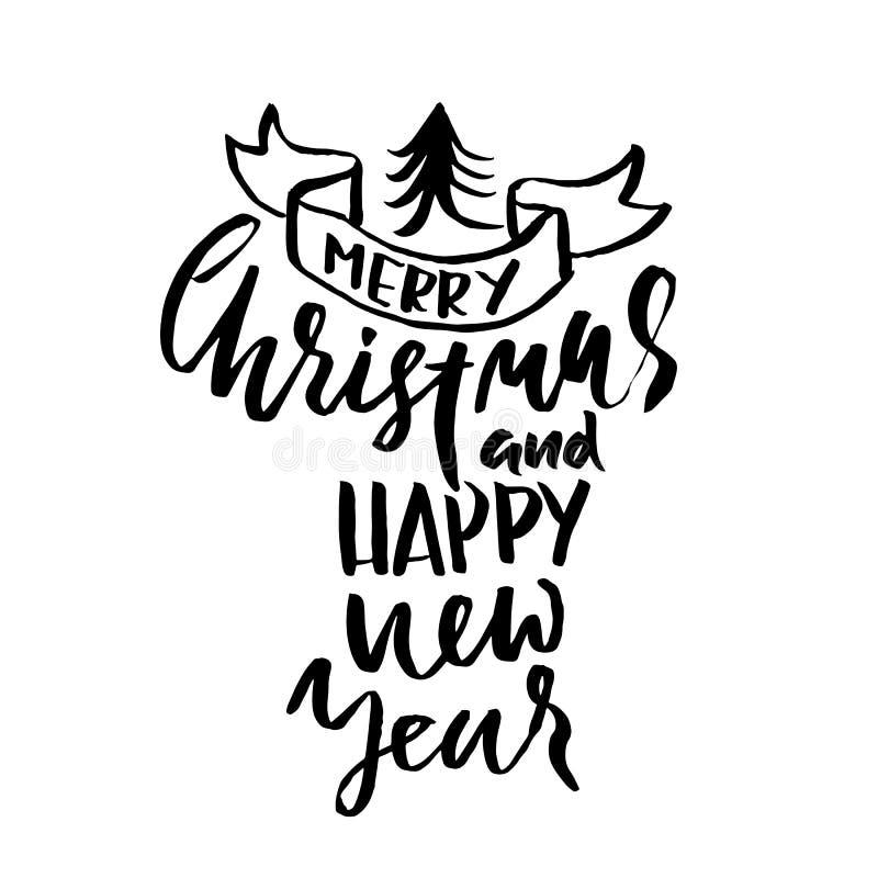 Wesoło boże narodzenia i Szczęśliwy nowy rok Wakacyjny nowożytny suszy szczotkarskiego atramentu literowanie dla kartka z pozdrow ilustracji