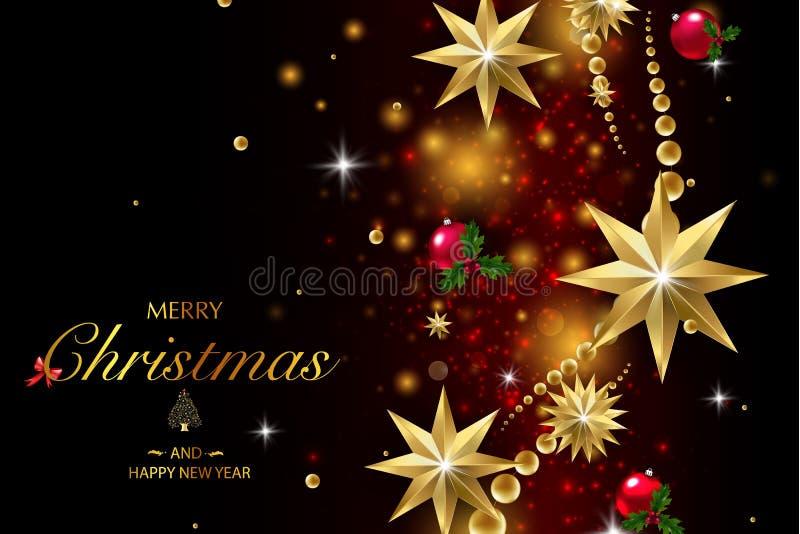 Wesoło boże narodzenia i Szczęśliwy nowy rok Wektorowa błyskotliwości dekoracja, złoty pył ilustracja wektor