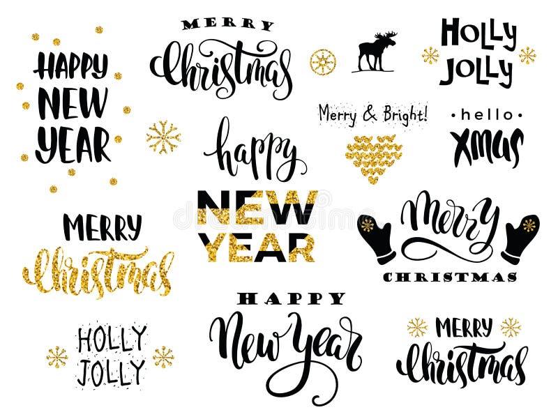 Wesoło boże narodzenia i Szczęśliwy nowy rok Wektorowa literowanie kaligrafia royalty ilustracja
