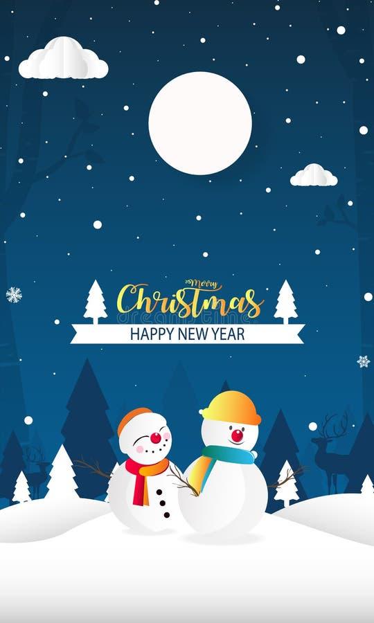 Wesoło boże narodzenia i Szczęśliwy nowy rok z śnieżnym mężczyzny tła papieru cięciem royalty ilustracja