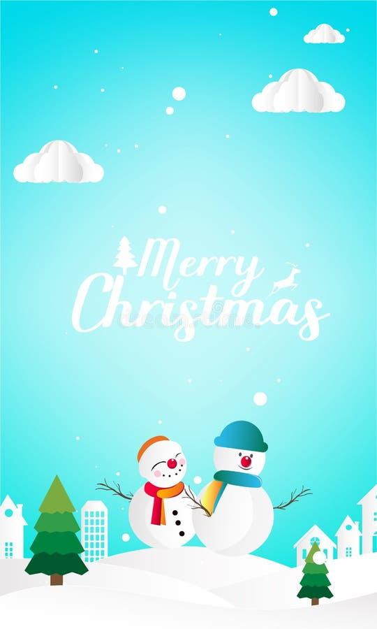 Wesoło boże narodzenia i Szczęśliwy nowy rok z śnieżnym mężczyzny tła papieru cięciem ilustracji