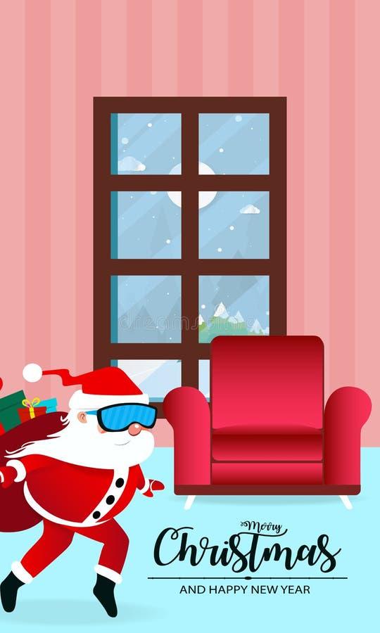 Wesoło boże narodzenia i Szczęśliwy nowy rok z Święty Mikołaj, żywy izbowy hasłowy Święty Mikołaj z niespodzianka prezenta wektor royalty ilustracja