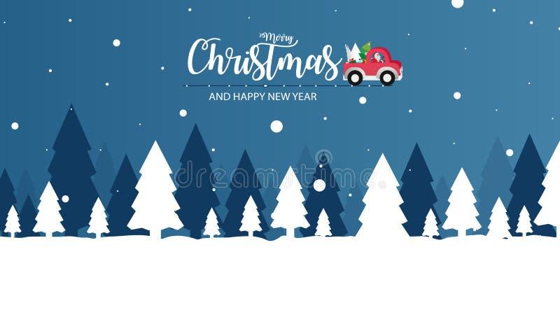 Wesoło boże narodzenia i Szczęśliwy nowy rok z Święty Mikołaj, Bożenarodzeniowa śnieżna scena o ilustracji