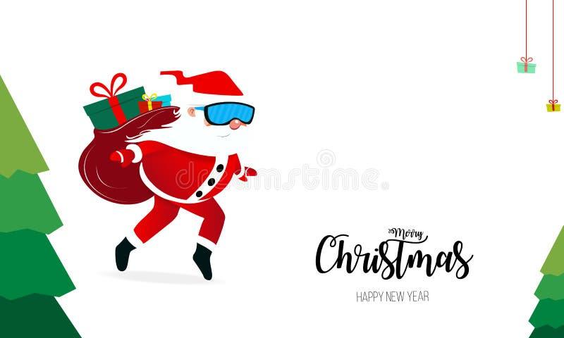 Wesoło boże narodzenia i Szczęśliwy nowy rok z Święty Mikołaj, Bożenarodzeniowa scena o ilustracja wektor