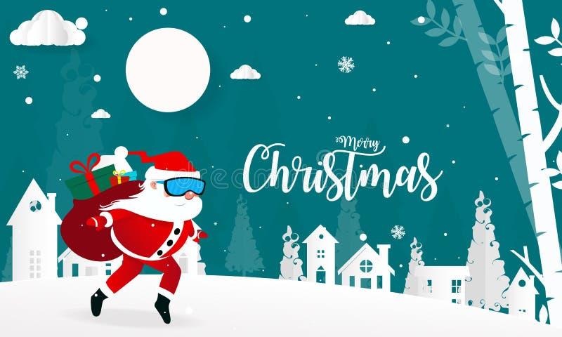 Wesoło boże narodzenia i Szczęśliwy nowy rok z Święty Mikołaj, tapetują cięcie ilustracji