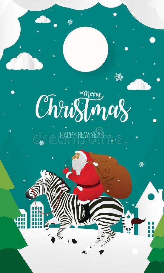 Wesoło boże narodzenia i Szczęśliwy nowy rok z Święty Mikołaj i zebrą, tapetują cięcie ilustracji