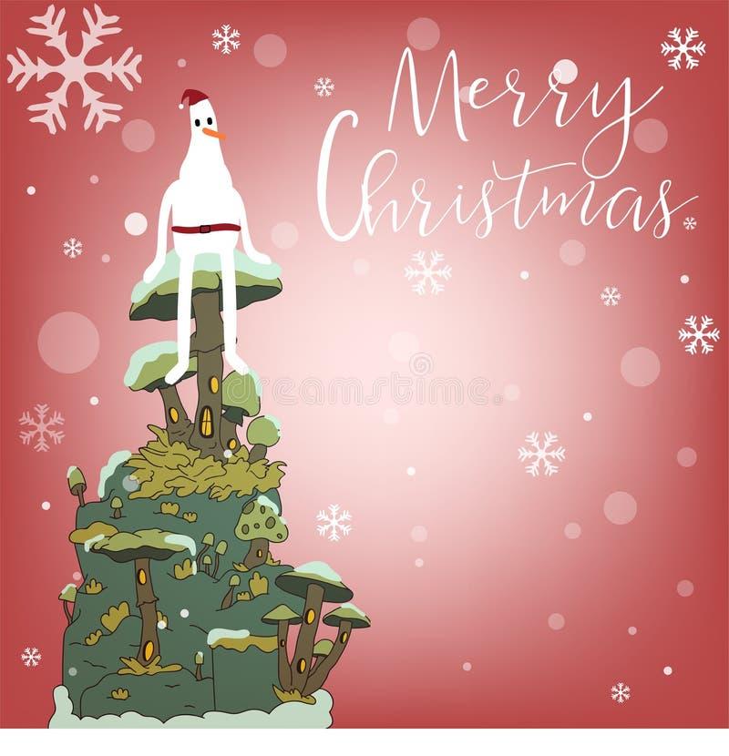 Wesoło boże narodzenia i Szczęśliwy nowy rok z reniferem, Santa i coll, royalty ilustracja