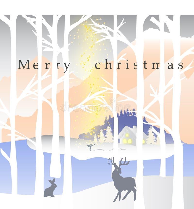 Wesoło boże narodzenia i Szczęśliwy nowy rok z reniferem, Santa i coll, ilustracji