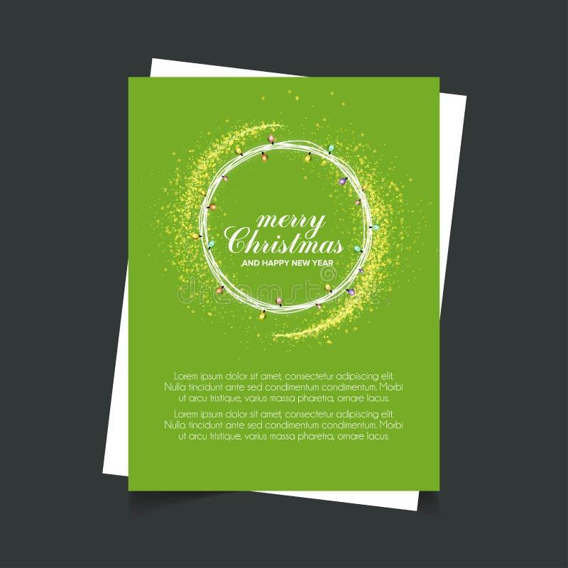 Wesoło boże narodzenia i Szczęśliwy nowy rok zieleni tła plakata szablon ilustracja wektor