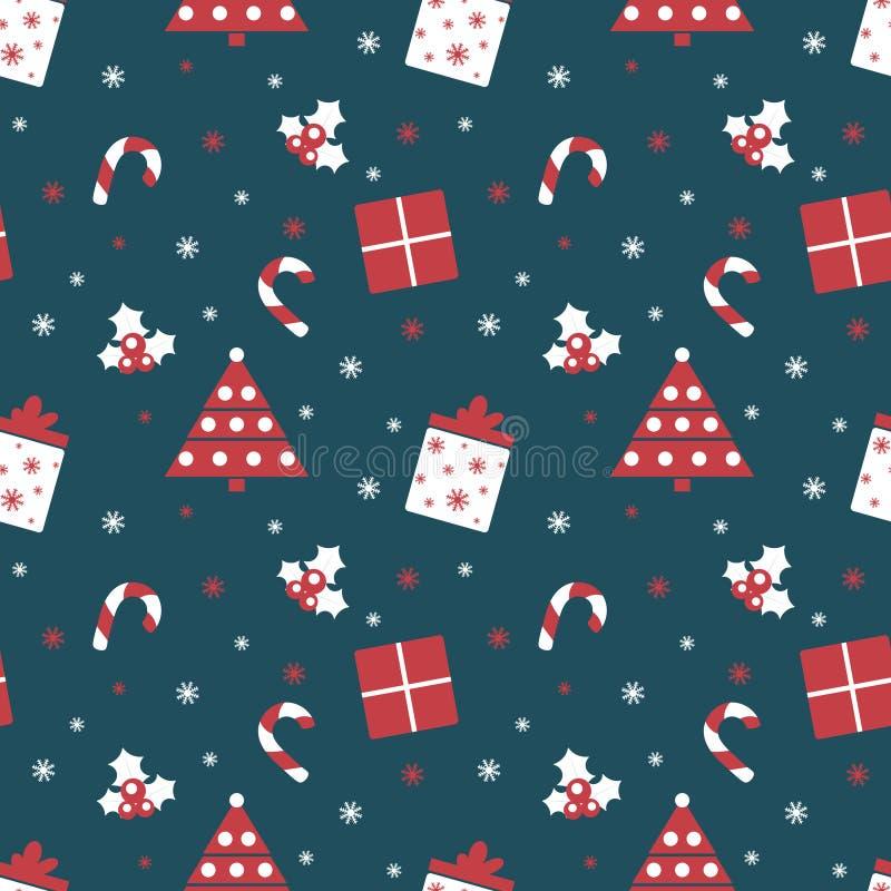Wesoło boże narodzenia i Szczęśliwy nowy rok Zima wakacje tło Śliczny bezszwowy wzór z czerwonych i błękita kolorami ilustracja wektor