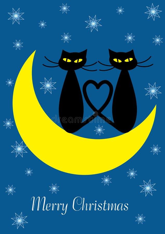 Wesoło boże narodzenia ilustracyjni z dwa kotami royalty ilustracja