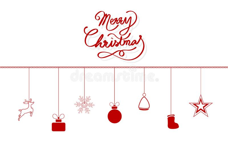 Wesoło boże narodzenia, kaligrafia faborku stylu wiadomości projekt, dekoracja, renifer, prezent, płatek śniegu, kapelusz Święty  ilustracja wektor