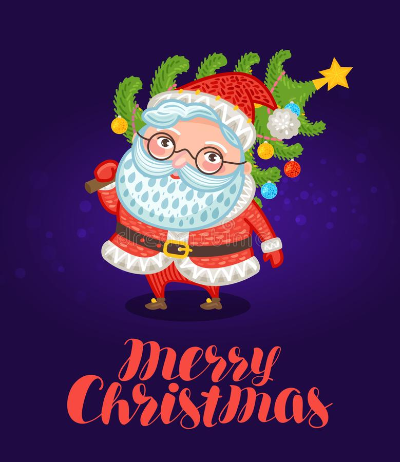 Wesoło Boże Narodzenia, kartka z pozdrowieniami Śliczny Święty Mikołaj niesie xmas drzewa z dekoracjami świąteczna wektorowa ilus ilustracja wektor