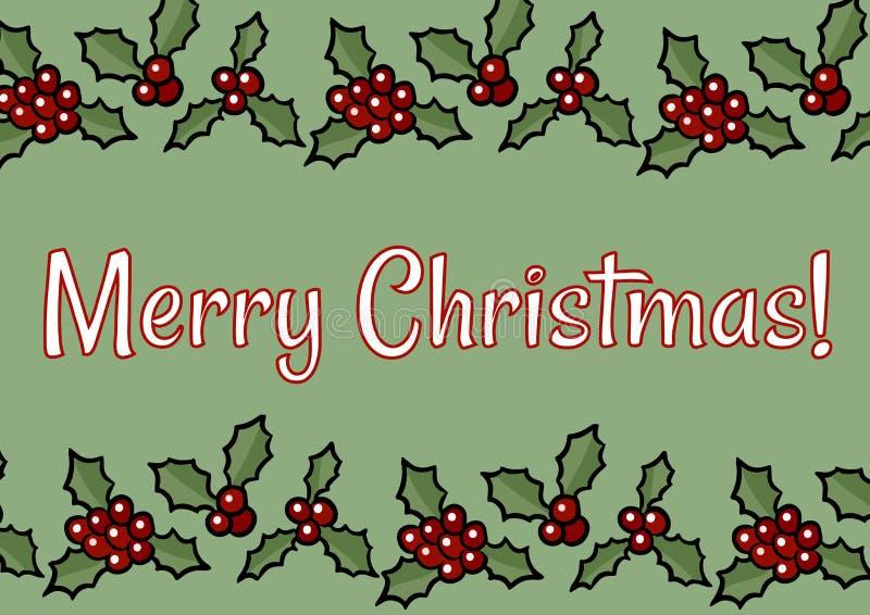 Wesoło boże narodzenia maszynopisy i holly ornamentu jagodowa pocztówka ilustracja wektor