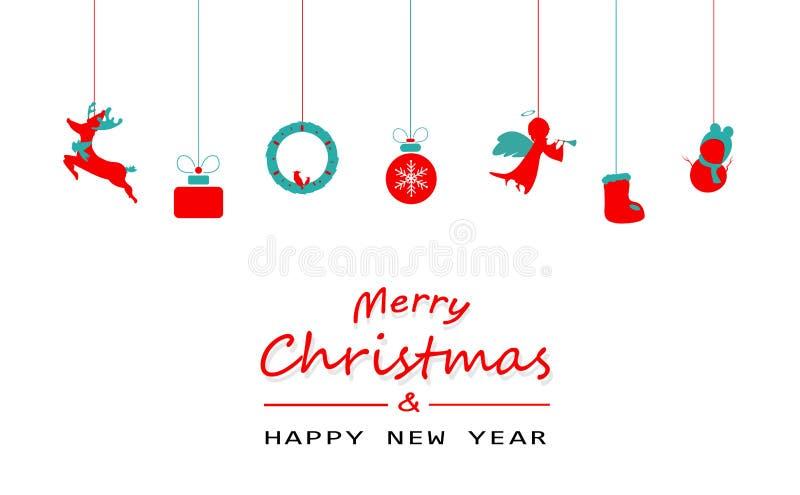 Wesoło boże narodzenia, minimalni, rocznik, dekoracja, renifer, prezent, s royalty ilustracja