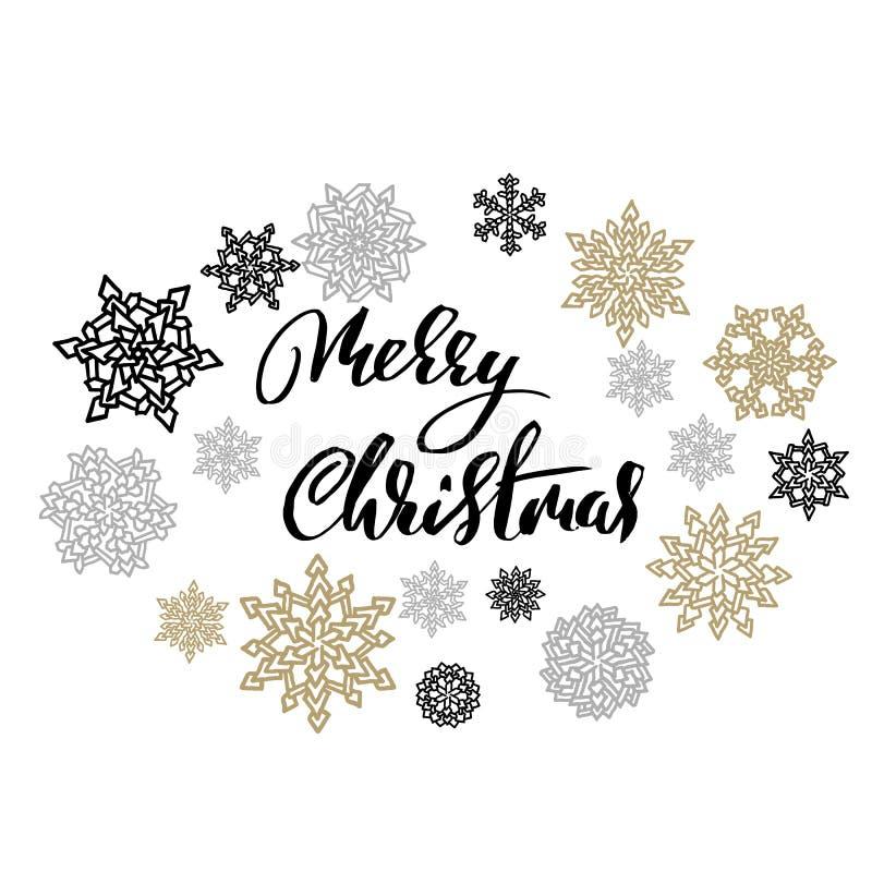 Wesoło boże narodzenia na złota i srebra płatków śniegu tle Wakacyjny nowożytny suszy szczotkarskiego atramentu literowanie dla k royalty ilustracja