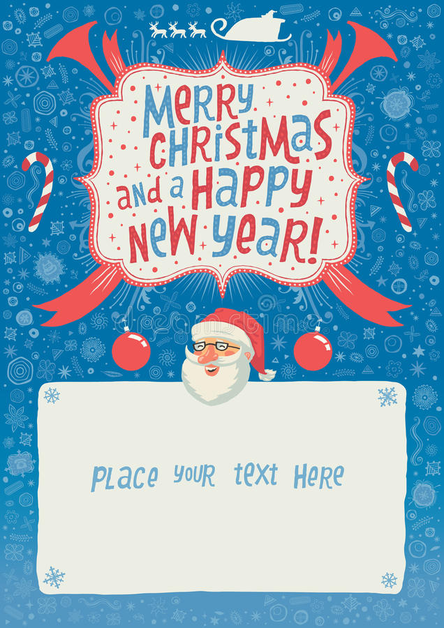 Wesoło boże narodzenia, nowego roku kartka z pozdrowieniami, plakat i tło dla partyjnego zaproszenia z ręki literowania typografi ilustracji