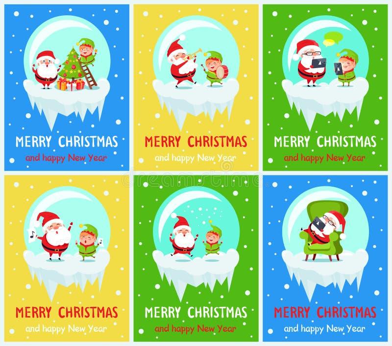 Wesoło boże narodzenia, nowego roku wektoru ilustracja ilustracji