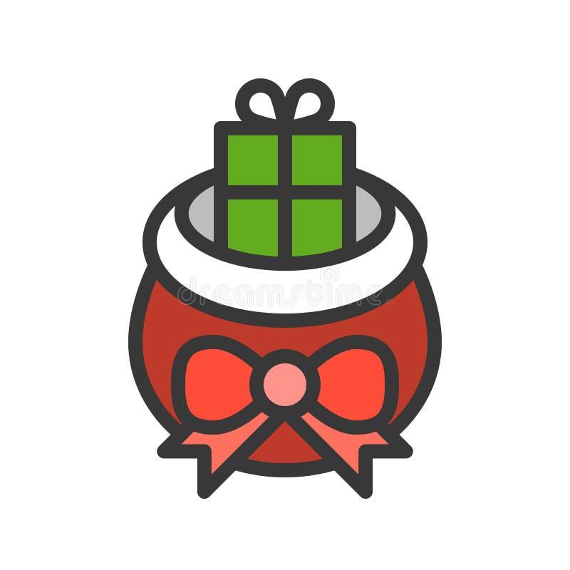 Wesoło boże narodzenia odnosić sie ikona set, wypełniający konturu projekt editable royalty ilustracja