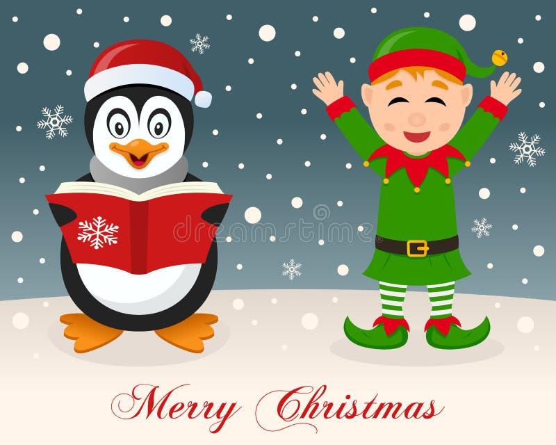 Wesoło boże narodzenia pingwin & Śliczny Zielony elf - royalty ilustracja