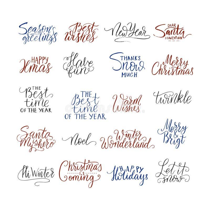 Wesoło boże narodzenia pisze list typografię Handwriting teksta projekt z zimy handdrawn literowaniem szczęśliwego nowego roku ilustracja wektor