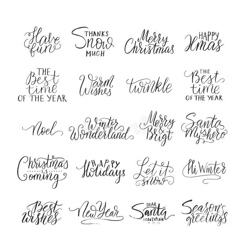 Wesoło boże narodzenia pisze list typografię Handwriting teksta projekt z zimy handdrawn literowaniem szczęśliwego nowego roku ilustracji