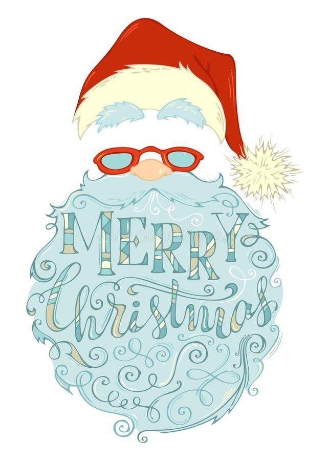Wesoło boże narodzenia Pisze list w Święty Mikołaj brodzie ilustracji