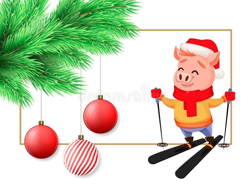 Wesoło boże narodzenia pocztówkowi z prosiątkiem w Święty Mikołaj szalika i kapeluszu narciarstwie royalty ilustracja