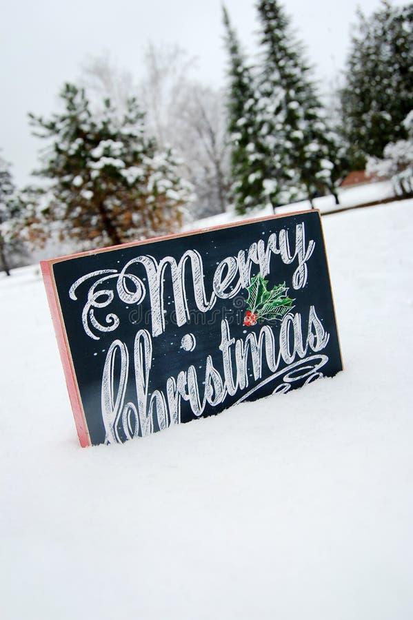 Wesoło boże narodzenia Podpisują wewnątrz śnieg fotografia stock