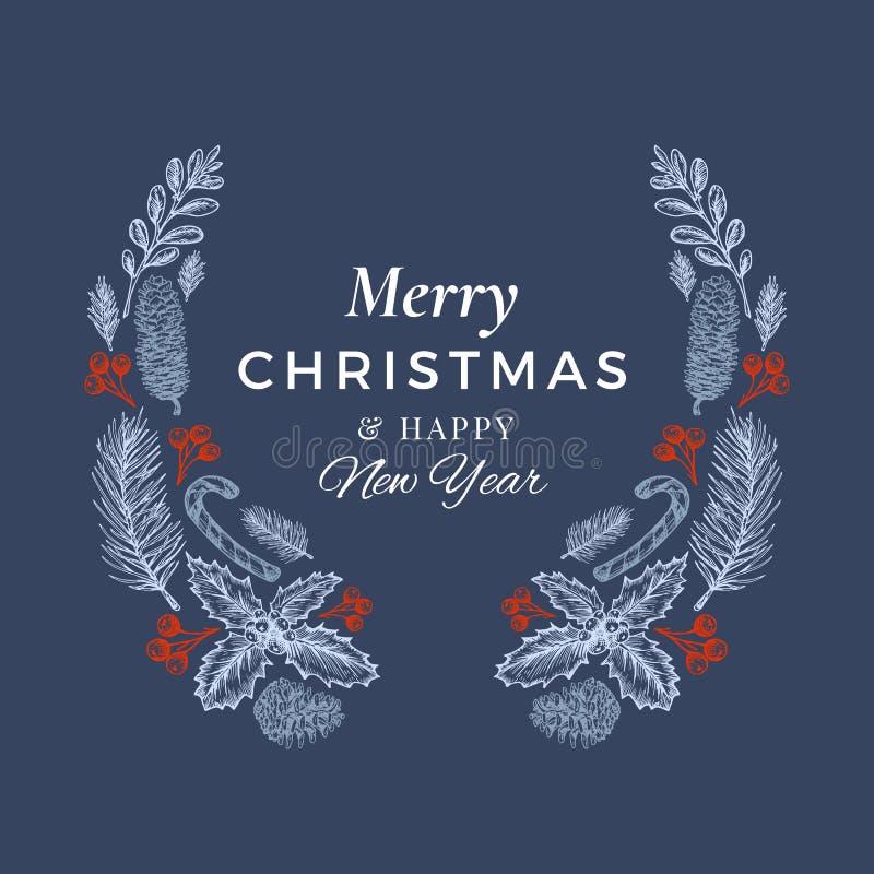 Wesoło boże narodzenia, Szczęśliwa ręka Rysujący nowego roku nakreślenia wianek, sztandar i karta szablon, Abstrakcjonistyczna Wa ilustracja wektor