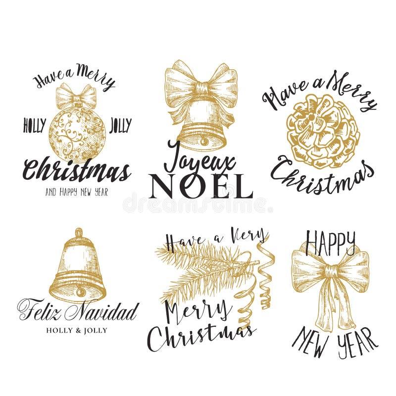 Wesoło boże narodzenia, Szczęśliwego nowego roku wektoru Abstrakcjonistyczni znaki, etykietki i logów szablony Ustawiający, Ręka  royalty ilustracja