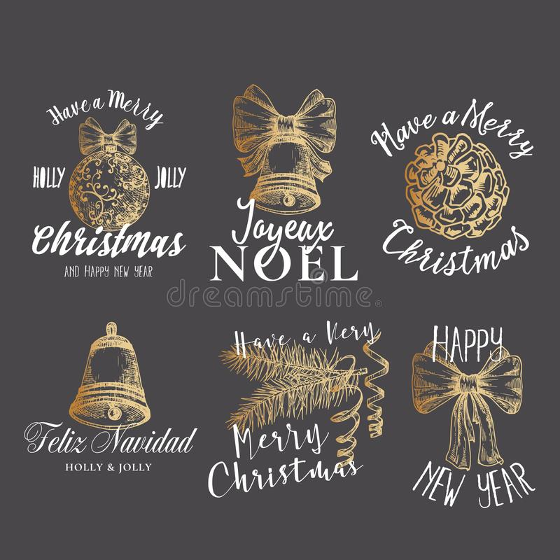 Wesoło boże narodzenia, Szczęśliwego nowego roku wektoru Abstrakcjonistyczni znaki, etykietki i logów szablony Ustawiający, Ręka  ilustracja wektor