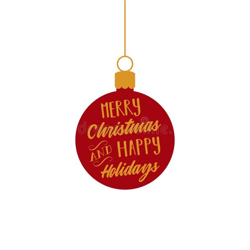 Wesoło boże narodzenia, Szczęśliwi wakacje, czerwień i złoto balowego ornamentu wektorowa grafika, ilustracji