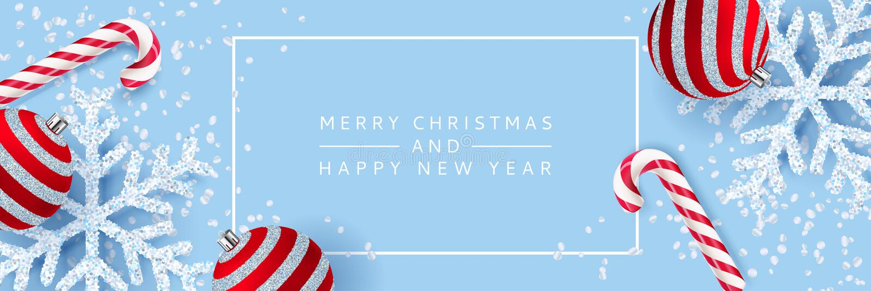 Wesoło boże narodzenia, Szczęśliwy nowego roku plakat, sztandaru tło Wektoru 3d realistyczna ilustracja płatek śniegu, piłki, can ilustracja wektor