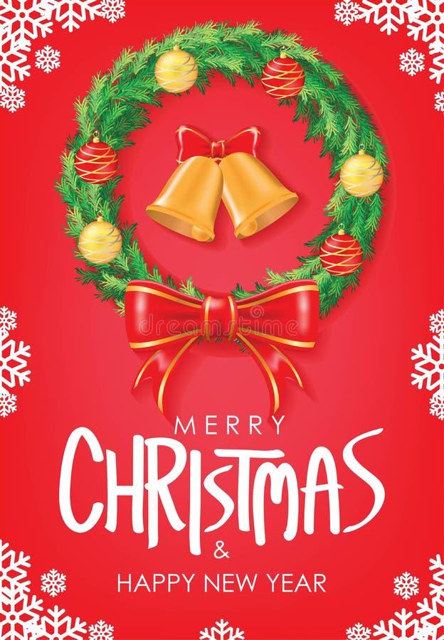 Wesoło boże narodzenia & Szczęśliwy nowego roku powitanie Bożenarodzeniowy wianek z Czerwonymi Tasiemkowymi i Bożenarodzeniowymi  royalty ilustracja